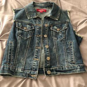 Button down jean vest